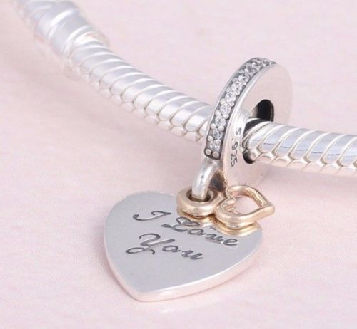 I Love You Forever Gold Heart Pendant Charm pandora fit