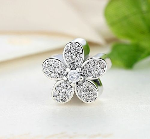925 Silver Sterling Dazzling DAISIES Crystal Charm