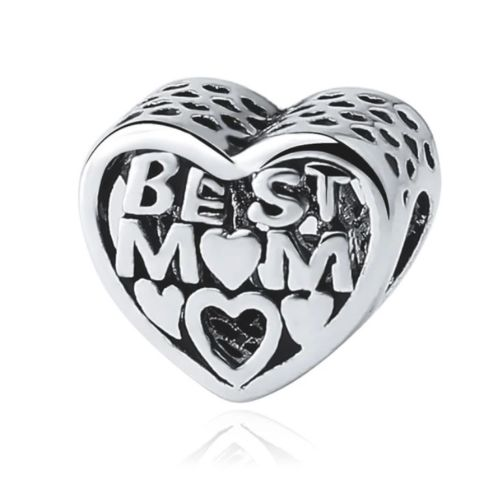 Silver Plated Best Mom Mum Mother's Day Charm