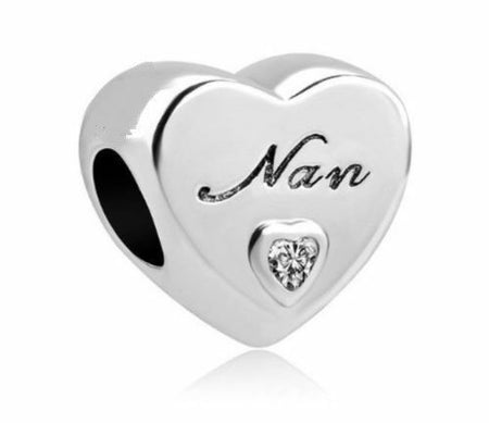 Sterling Silver Grandma Grand mother Nan Love Heart Charm