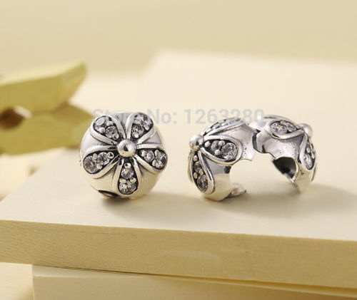Silver Sterling Dazzling Daisies Stopper Clip