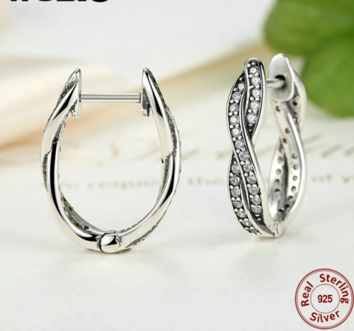Silver Sterling TWIST OF FAITH HOOP EARRINGS