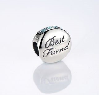 BEST FRIENDS BFF Round Blue Stone Charm