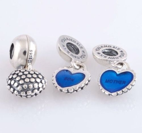 Mother & Son Duo Twin Heart Mom Mum love Dangle Pendant Charm