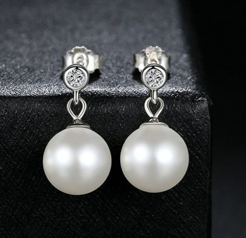 Silver Sterling Delicate Luminous Pearl Drop stone earrings