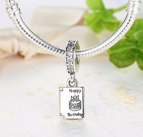 Happy Birthday Open Book Celebration Best Wishes Pendant charm fits pandora