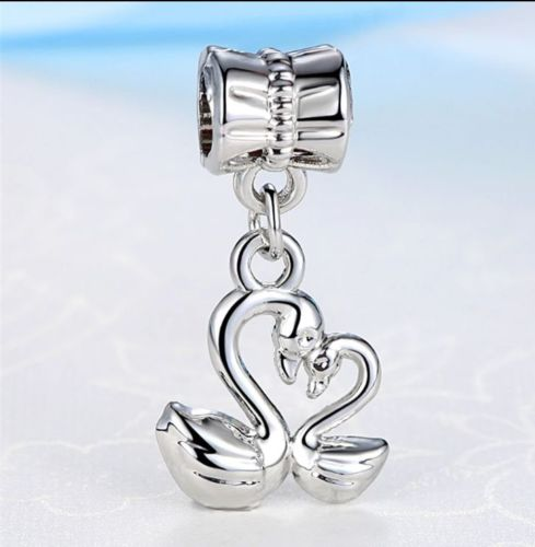 Silver Plated Love twin Swan pendant Charm fits pandora bracelets