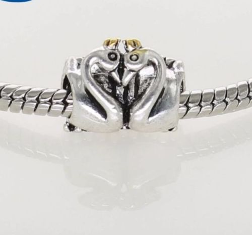 ae5f54fda Silver Plated Love twin Swan Embrace Charm – supersterling