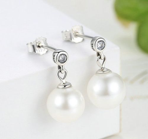 4b5d56e40 Silver Sterling Delicate Luminous Pearl Drop stone earrings ...