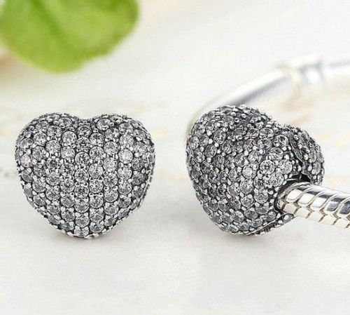 Silver Sterling Love CZ Pave Heart Lock Clip Stopper Charm for pandora