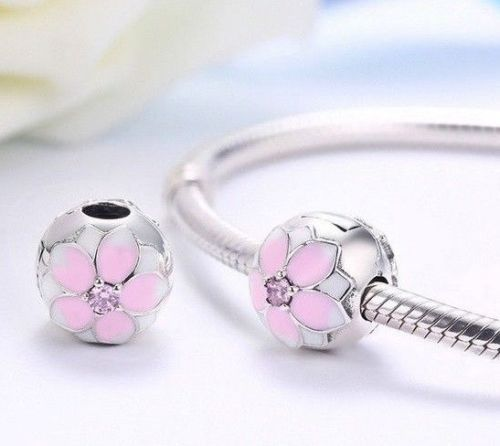 018d7aa3b Pink Magnolia lock Stopper Clip Bead Charm – supersterling
