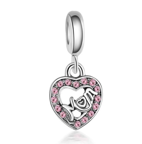 Silver Plated Centre Of My Mom Mum Heart Mother's Day Pendant Charm
