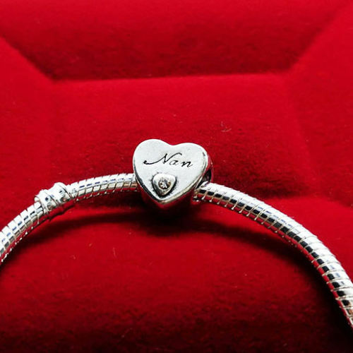 Silver Plated Grand mother Grandma NAN Heart Charm