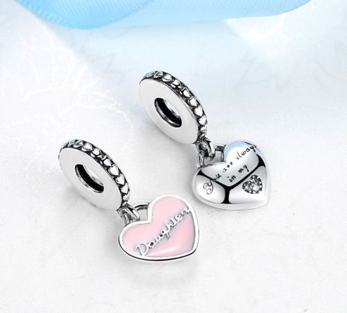 Mother & Daughter Duo Twin Heart Mom Mum love Dangle Pendant Charm Set