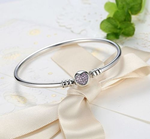 Real 925 Silver Starter Bangle Bracelet Classic Pave Heart Clasp