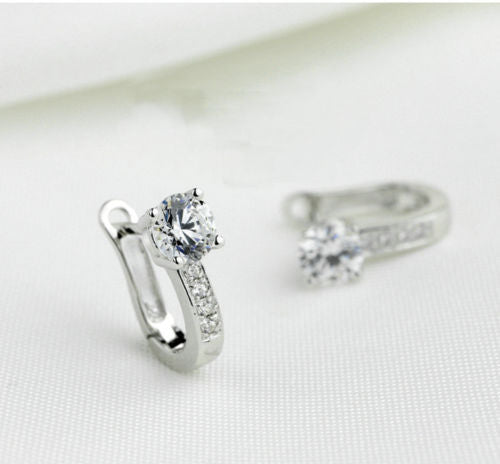Silver Sterling Dazzling best friends U Shape zircon earrings