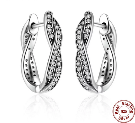 Silver Sterling ROUND HOOP Sparkling Earrings