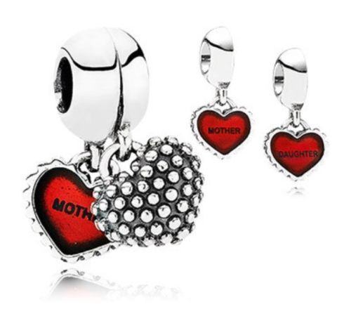 pandora style charm mother & daughter duo