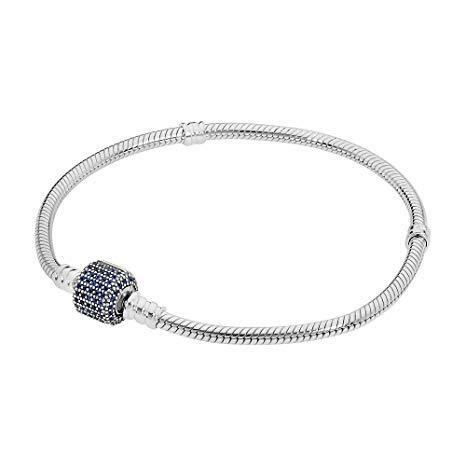 pave blue clasp barrel charm bracelet moments