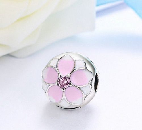 Pink Magnolia lock Stopper Clip Bead Charm