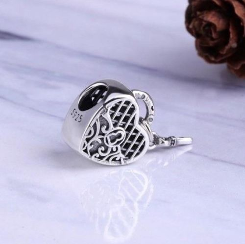 Sterling Silver LOVE YOU LOCK KEY Dangle Pendant Charm