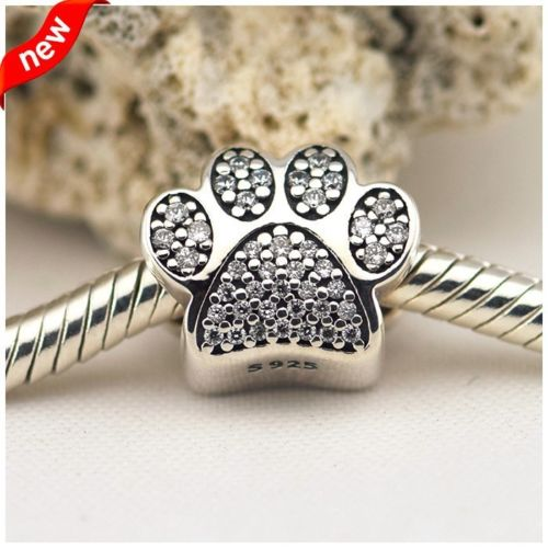 fits pandora bracelet Pave Dog Paw Pet Animal Charm