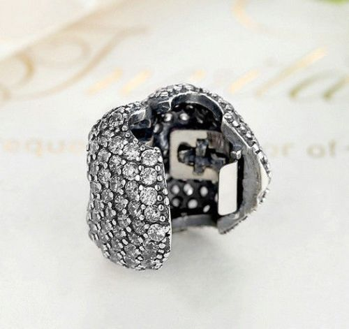 Silver Sterling Love CZ Pave Heart Lock Clip Stopper Charm