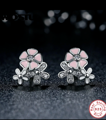 Sterling Silver poetic blooms pink floral Studs