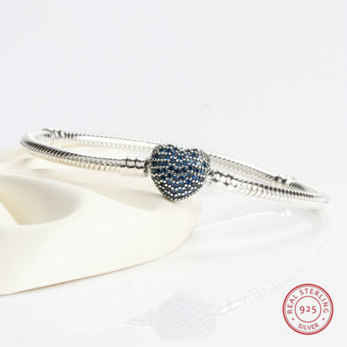 Blue Pave Heart Clasp Moments Starter Snake Chain Charm Bracelet