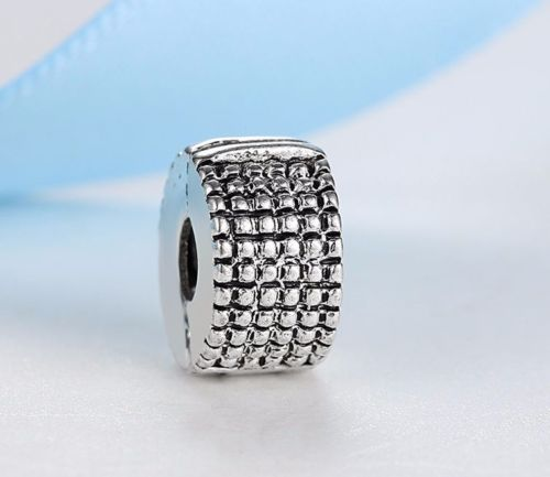Silver Plated BEAD SPACER Clip Stopper Charm Fits European brand bracelet pandora