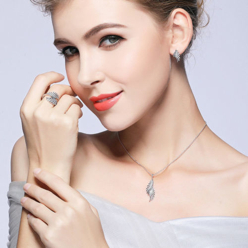 Dazzling Majestic Feathers Necklace & Earrings Gift Set pandora style