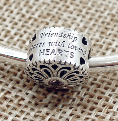 love and friendship charm fits pandora bracelets