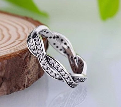 silver sterling Sparkling Braided Twist of Fate European Ring pandora style