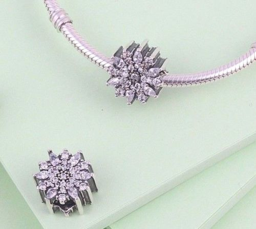 Silver Sterling snowflake ice floral crystal charm