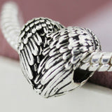 Silver Plated Angel wing feather LOVE heart Charm