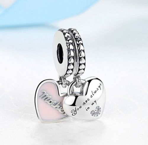 mother daughter love heart charm set fits pandora