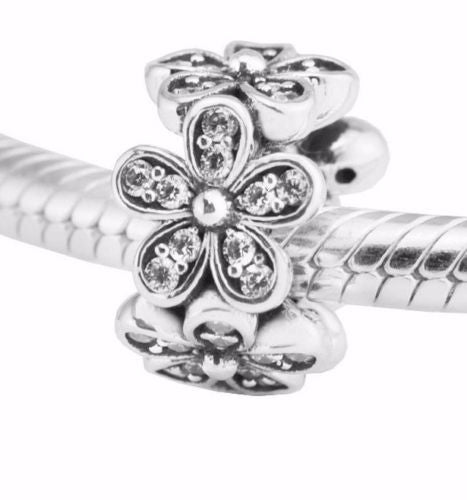 Silver Sterling Dazzling Daisies Floral Spacer