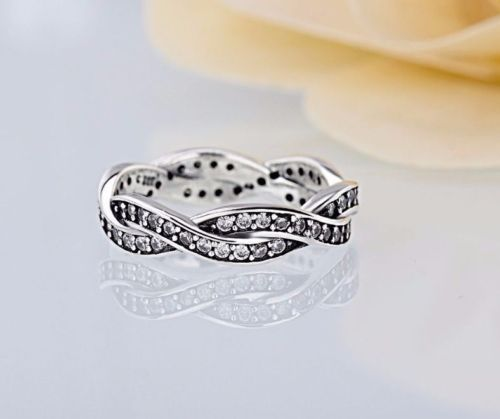 Silver sterling Sparkling Braided Twist of Fate European Ring