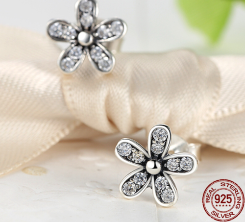 Silver Sterling Dazzling Daisies Sparkling Earrings pandora european style