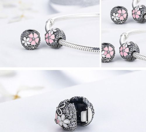 pandora Silver Sterling poetic bloom daisy flower Clip Stopper Lock Charm