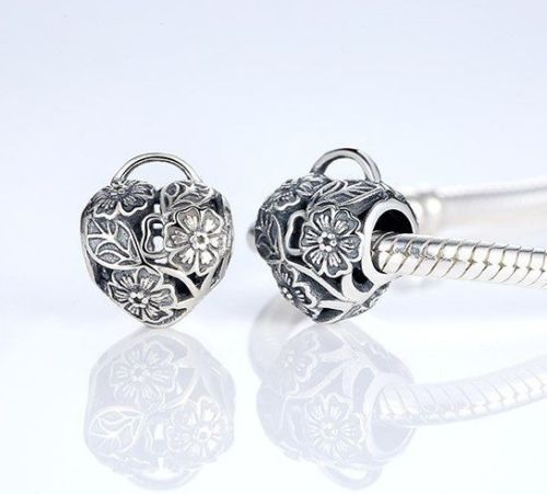 Sterling Silver Floral Heart Padlock love key charm