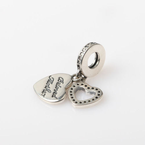 Silver Sterling beloved mom mum mother Heart Dangle Charm