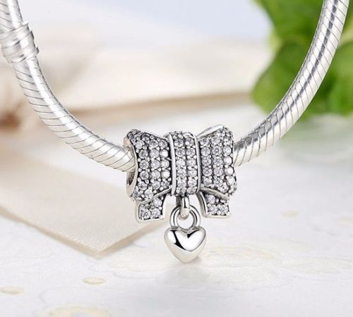 For pandora barcelets Bow & Heart Dropper Dangle Charm