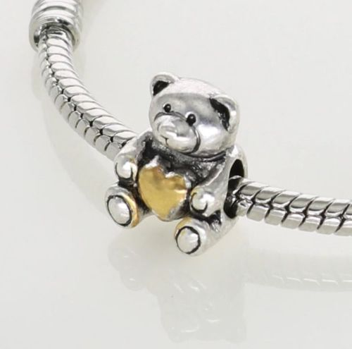 Silver Plated Gold Heart Love Teddy Bear Charm