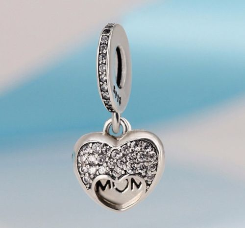 Silver Sterling I love my mum mother open heart charm for pandora bracelets
