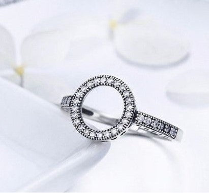 silver sterling Forever round stone hearts of pandora Halo Ring
