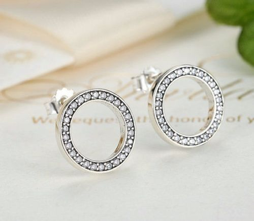 pandora style forever round earrings