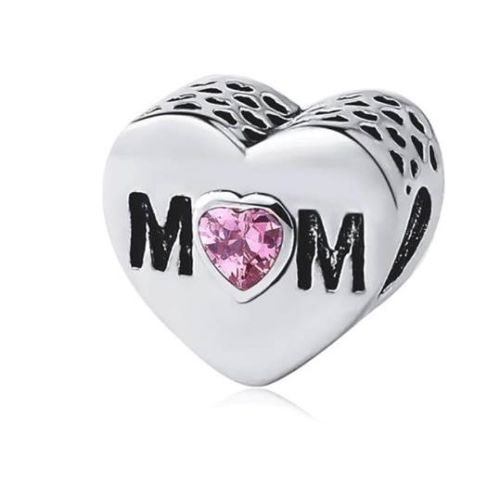 Silver Plated Best Mom Mum Pink Heart Mother's Day Charm