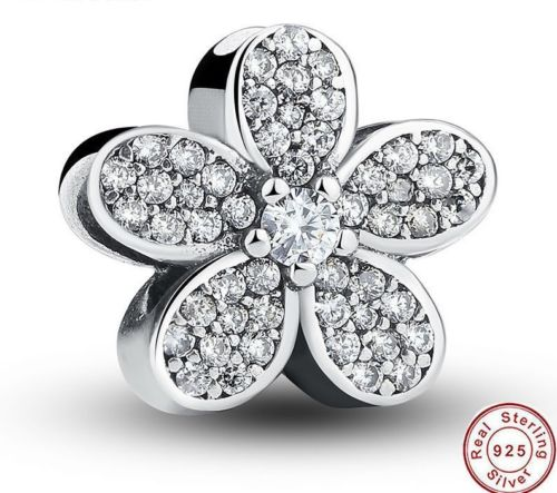 925 Silver Sterling Dazzling DAISIES Crystal Charm fits pandora bracelets