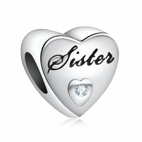 Silver Plated Sister Brother Love Heart Charm